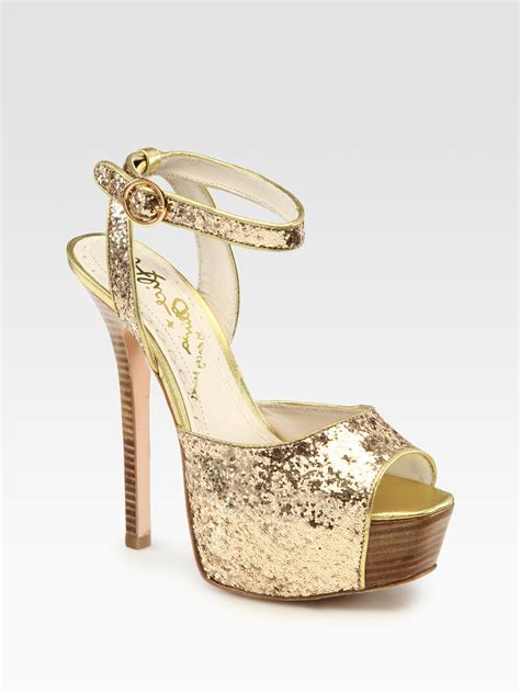 gold platform sandals lansey glittercoated metallic leather peep