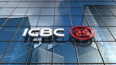 icbc bank editorial icbc logo on glass building motion background