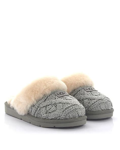 ugg house slippers sale lyst ugg house slippers cozy cable knitted grey fur