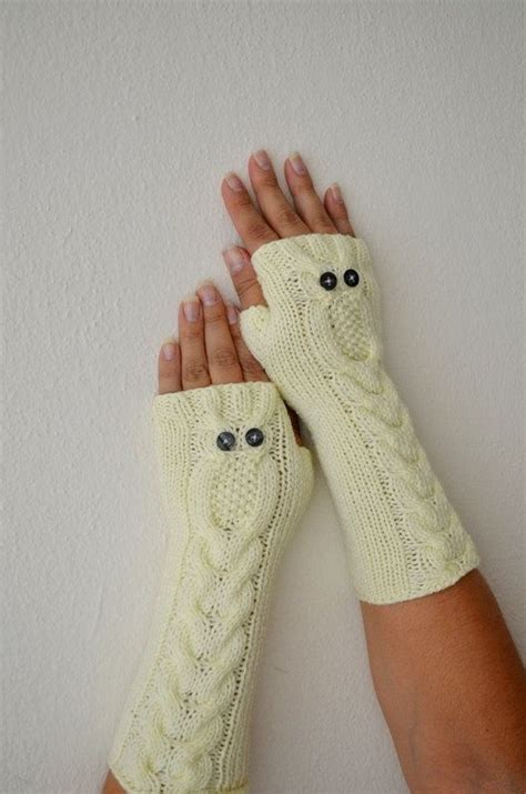 owl oatmeal long hand knit cable pattern fingerless gloves owl beige long gloves hand knit mittens fingerless by