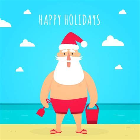 imagenes de santa claus en la playa tarjeta de navidad de santa claus en la playa descargar