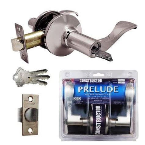 constructor satin nickel prelude entry door lever lock set