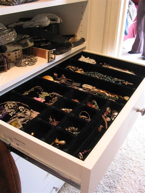 marvelous jewelry drawer organizer in closet