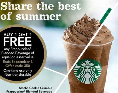 Free Starbucks Gift Card Code - starbucks coupons b1g1 free frappucinos