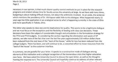 Response To Letter K arts sciences college forum administrative response to faculty senate letter