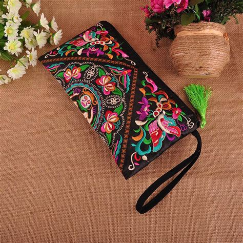 Floral Embroidered Evening Clutch by Luxury Handbags Faced Flower Embroidered