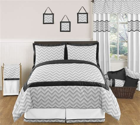 black and gray bedding black and gray chevron zig zag childrens kids teen bedding 3pc full queen set by