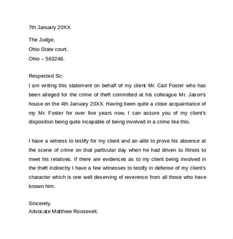Character Letter Template For Court Sle Character Letter For Court Templates 8 Free Documents In Word Pdf