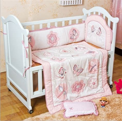 cheap baby crib set discount 6pcs embroidery cheap price baby crib bedding set baby bed set bedding include