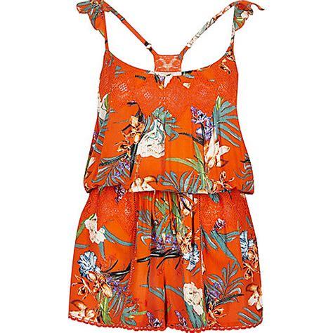 Kr Kaftan Ceruty Eliza Orange orange tropical print cover up playsuit kaftans cover ups swimwear beachwear
