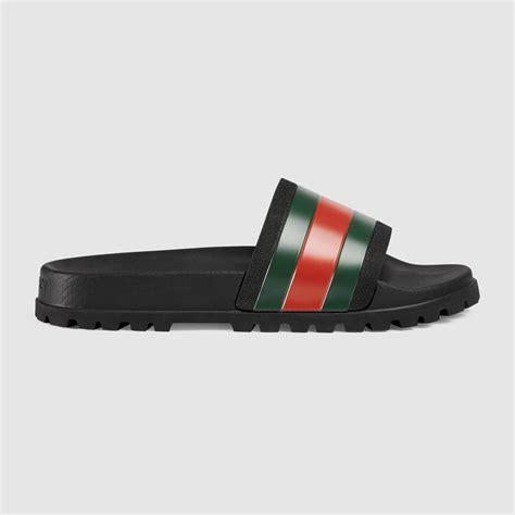 Sandal Gucci Import 4 gucci web slide sandal in black for lyst