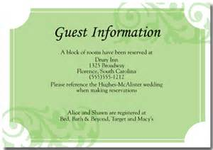 wedding hotel information card template 7 best images of destination wedding accommodations