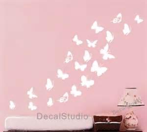 butterfly set home vinyl decal bedroom girl nursery white butterfly flower tree wall art stickers nursery kids wall