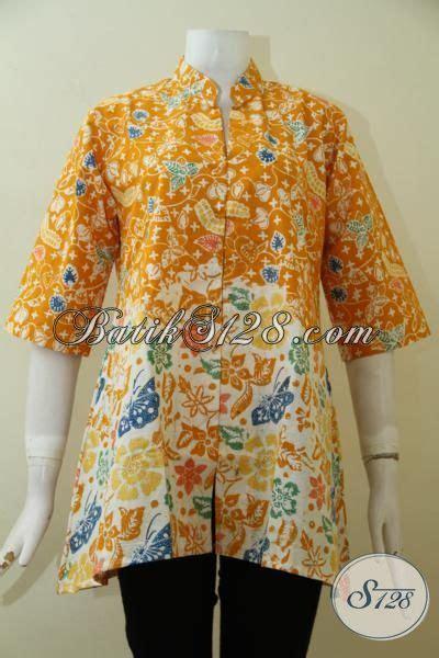 Baju Batik Pastel Kuning blus batik wanita seragam kerja til cantik berkelas baju batik cap warna kuning motif unik
