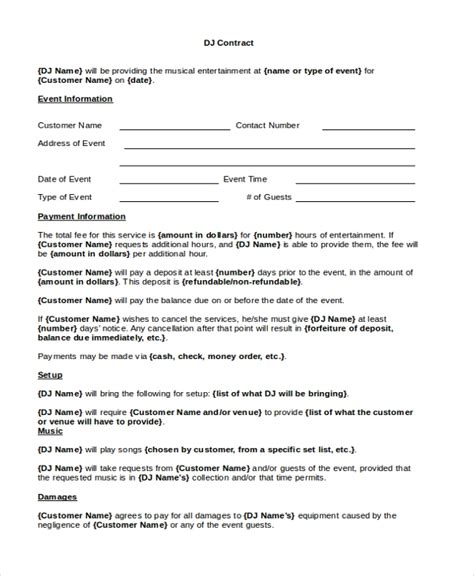 Sle Dj Contract Form 8 Free Documents In Pdf Doc Dj Contract Template Free