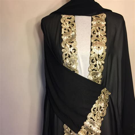 Abaya Gold black gold embroidered abaya abaya black