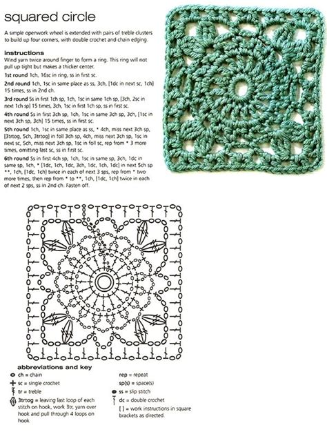 printable instructions on how to crochet a granny square squared circle with instructions and diagram wonderful