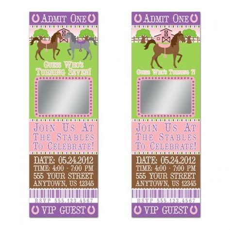 personalized birthday invitations horse by littlebeaneboutique cute horse scratch off ticket invitations personalized