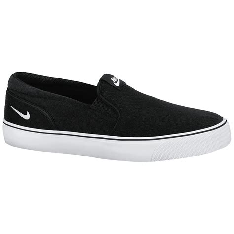 nike toki s slip on shoes black white