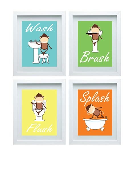 monkey bathroom bathroom rules kids bathroom art kids bathroom decor monkey