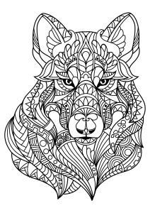 Tete de loup - Coloriages Difficiles pour Adultes