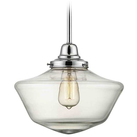 in pendant light 12 inch clear glass schoolhouse pendant light in chrome