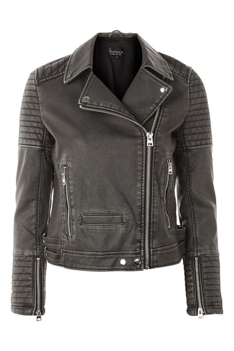 Faux Leather Jacket by Washed Faux Leather Biker Jacket Topshop