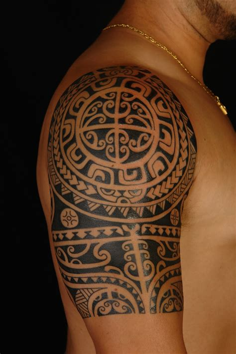 hawaiian tribal tattoo shane tattoos polynesian shoulder on anthony