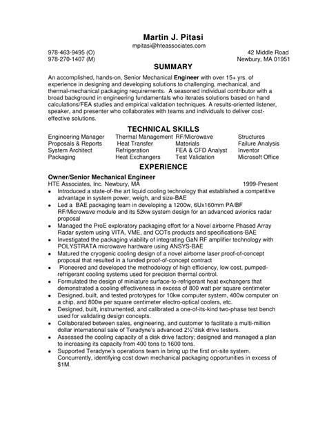 Senior Mechanical Engineer Sle Resume by Senior Mechanical Design Engineer Resume Sle 28 Images Mechanical Design Resume Sales