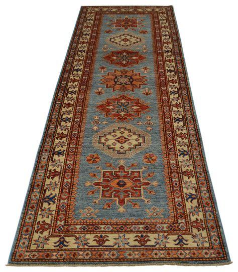 3x10 rug 3x10 runner tribal design sky blue kazak rug knotted sh18415 traditional