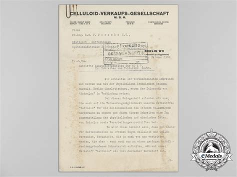 Letter Of Credit German A 1938 Pre War Letter To Porsche Ag On The Development Of German Made Auto Components