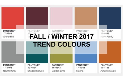 ispo color palette fall winter 2017 2018 fashion trendsetter color palette fall winter 2018 my blog