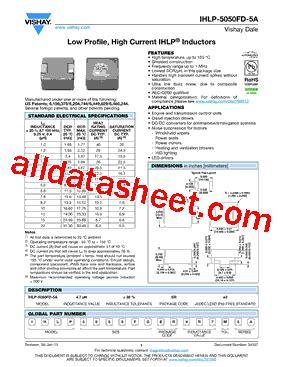 vishay inductors datasheet ihlp5050fder150m5a datasheet pdf vishay siliconix