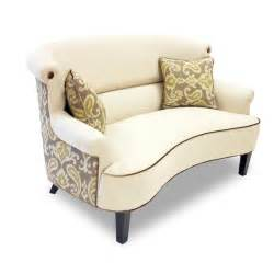 Upholstered Chaise Lounge With Arms Ikat Cream Curved Back Loveseat 14960179 Overstock Com
