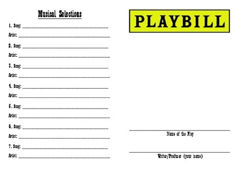 playbill template word front of quot design your own playbill quot drama activity