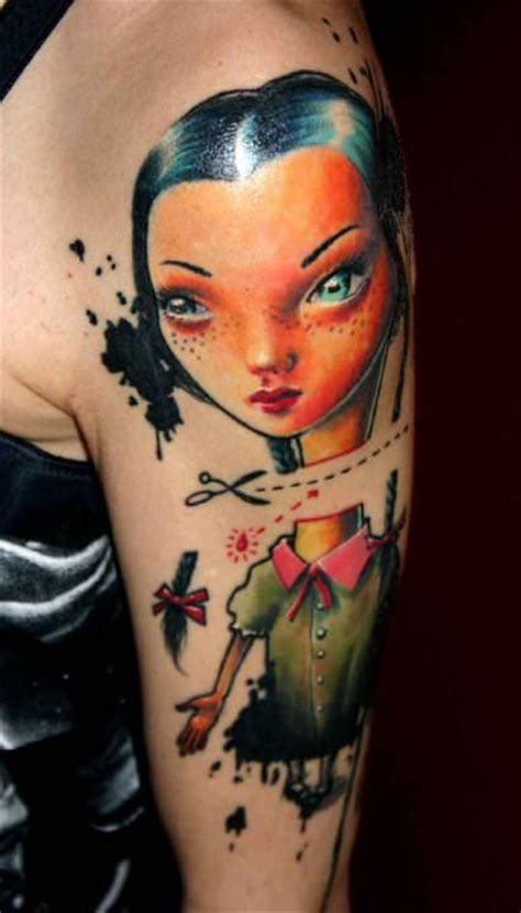 cartoon realism tattoo a surrealist dolly has her head cut off in this photo