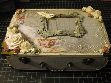 simply shimmery scraps altered shabby chic box