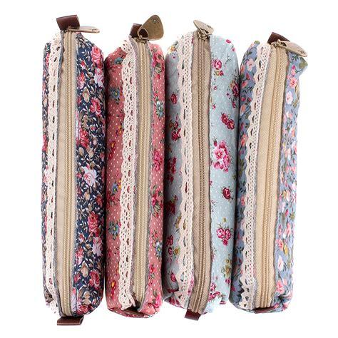 Floral Print Pencil Pouch mersuii set of 4 sweety floral pen pencil bag