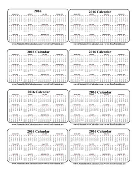 Free Small Printable Calendar 2016