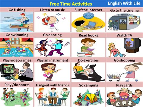 free time activities vocabulary home
