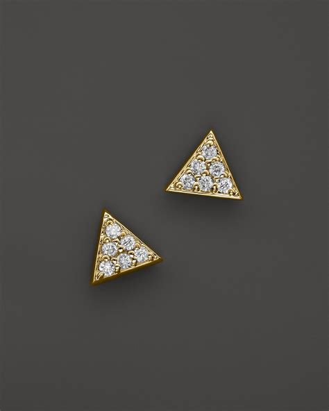 Yellow Triangle Earring kc designs triangle stud earrings in 14k yellow gold 10 ct t w in metallic lyst