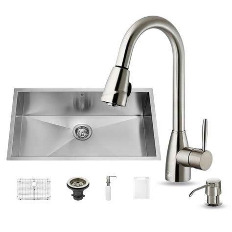 home depot faucets for kitchen sinks vigo all in one undermount stainless steel 32 in single bowl kitchen sink set with stainless