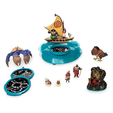 moana figures with boat moana projection boat playset