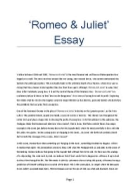 Romeo And Juliet Essay Introduction by Essay About Romeo And Juliet