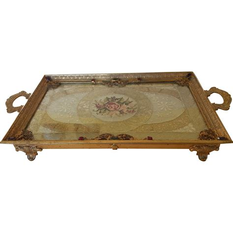 vintage 1920 s jeweled silvercraft vanity tray w lace insert from fifis antique perfume bottles