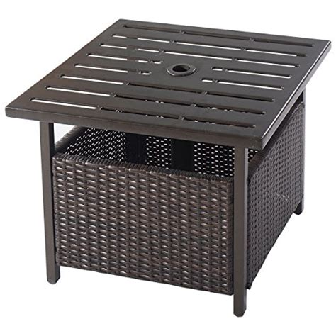 outdoor side table with umbrella giantex brown rattan wicker umbrella stand steel side