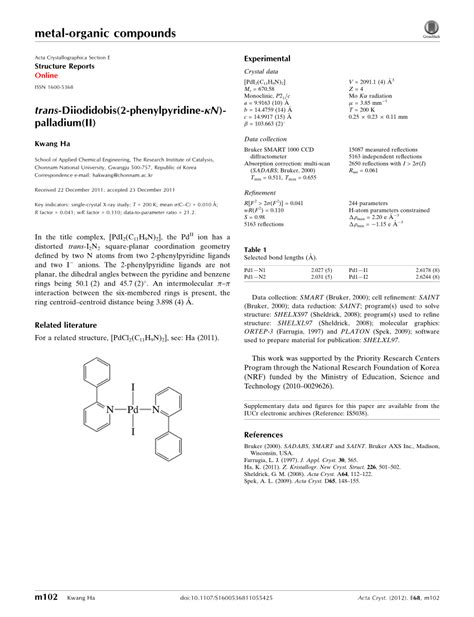 acta crystallographica section e structure reports online impact factor trans diiodidobis 2 phenylpyridine κn palladium ii pdf