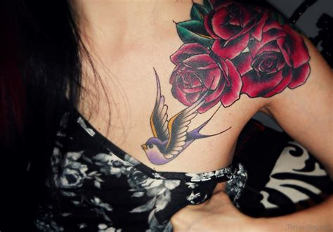 hummingbird with rose tattoos 40 pretty hummingbird tattoos for chest