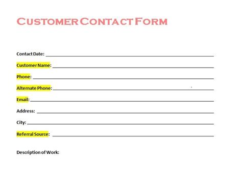 new customer form template free customer contact form from tradesman startup
