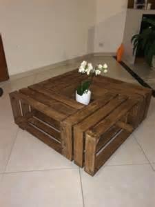 table basse en bois faite avec 4 caisses 224 pommes